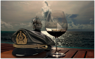 Ships In Sea And In Wine Glass Background for Android, iPhone and iPad