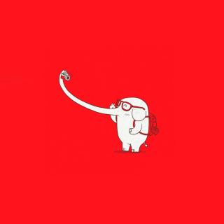 Elephant On Red Backgrpund - Obrázkek zdarma pro iPad 2