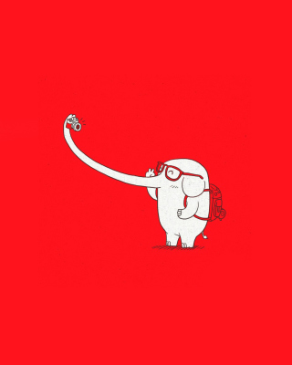 Elephant On Red Backgrpund - Obrázkek zdarma pro Nokia C-5 5MP