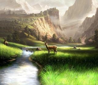 Deer At Mountain River - Obrázkek zdarma pro 320x320