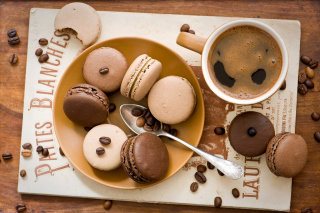 Chocolate And Coffee Macarons Picture for Android, iPhone and iPad