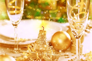 Gold Christmas Decorations Wallpaper for Android, iPhone and iPad
