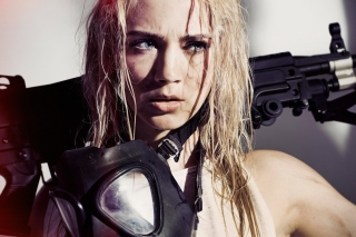 Soldier Girl Model with Weapon Wallpaper for Android, iPhone and iPad