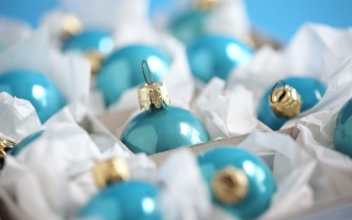 Turquoise Christmas Tree Balls Wallpaper for Android, iPhone and iPad