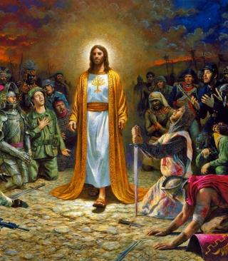 Soldiers & Jesus - Obrázkek zdarma pro Nokia 206 Asha