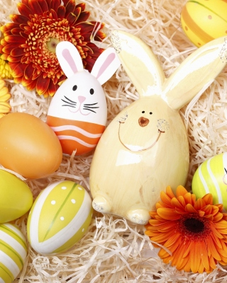 Easter Eggs Decoration with Hare Wallpaper for Nokia Asha 303