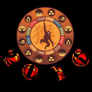 New Year 2016 Monkey Chinese Horoscopes - Obrázkek zdarma pro 1024x1024