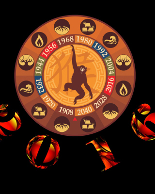 New Year 2016 Monkey Chinese Horoscopes - Obrázkek zdarma pro iPhone 4