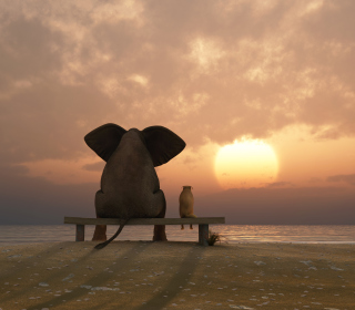 Elephant And Dog Looking At Sunset - Obrázkek zdarma pro 128x128