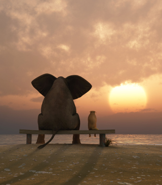 Elephant And Dog Looking At Sunset - Obrázkek zdarma pro 640x960