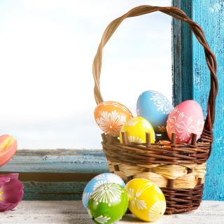 Easter eggs in basket - Obrázkek zdarma pro 208x208