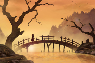 Samurai on Bridge Background for Android, iPhone and iPad