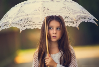 Girl With Lace Umbrella Wallpaper for Android, iPhone and iPad