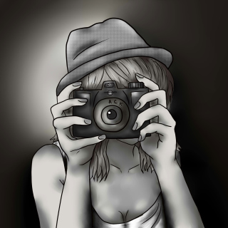 Black And White Drawing Of Girl With Camera - Obrázkek zdarma pro 208x208
