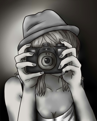 Black And White Drawing Of Girl With Camera - Obrázkek zdarma pro 360x480