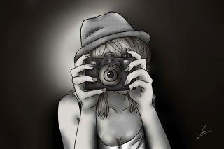 Black And White Drawing Of Girl With Camera - Obrázkek zdarma pro Nokia Asha 205