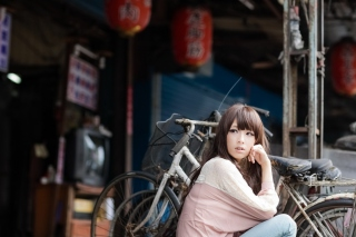 Cute Asian Girl With Bicycle Wallpaper for Android, iPhone and iPad