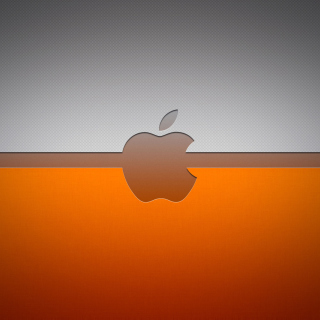 Grey And Orange Apple Logo - Obrázkek zdarma pro iPad Air