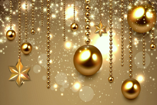 Golden Christmas Balls Background for Android, iPhone and iPad