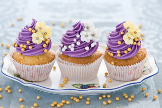 Purple Cupcake Background for Android, iPhone and iPad