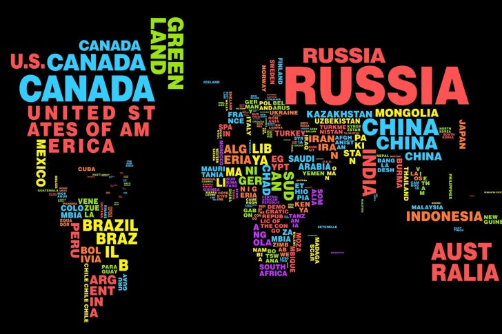 World Map with Countries Names wallpaper