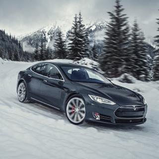 Tesla Model S P85D on Snow - Obrázkek zdarma pro iPad 2