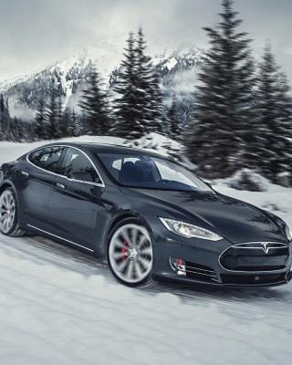 Tesla Model S P85D on Snow - Obrázkek zdarma pro 240x432