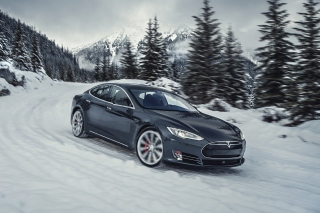 Tesla Model S P85D on Snow - Fondos de pantalla gratis