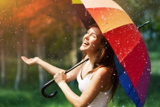 Free Happy Girl With Rainbow Umbrella Under Summer Rain Picture for Android, iPhone and iPad