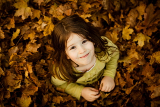Child In Leaves Background for Android, iPhone and iPad
