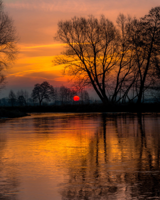 Atmospheric optic Reflection and Sunset - Obrázkek zdarma pro 480x854