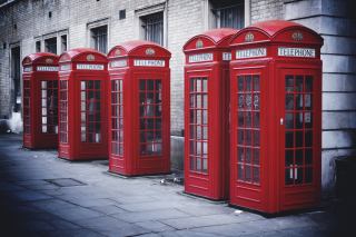 Red English Phone Booths Wallpaper for Android, iPhone and iPad