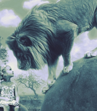 Kid And Lion - Obrázkek zdarma pro Nokia Asha 308