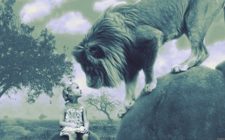 Kid And Lion - Obrázkek zdarma pro Android 600x1024