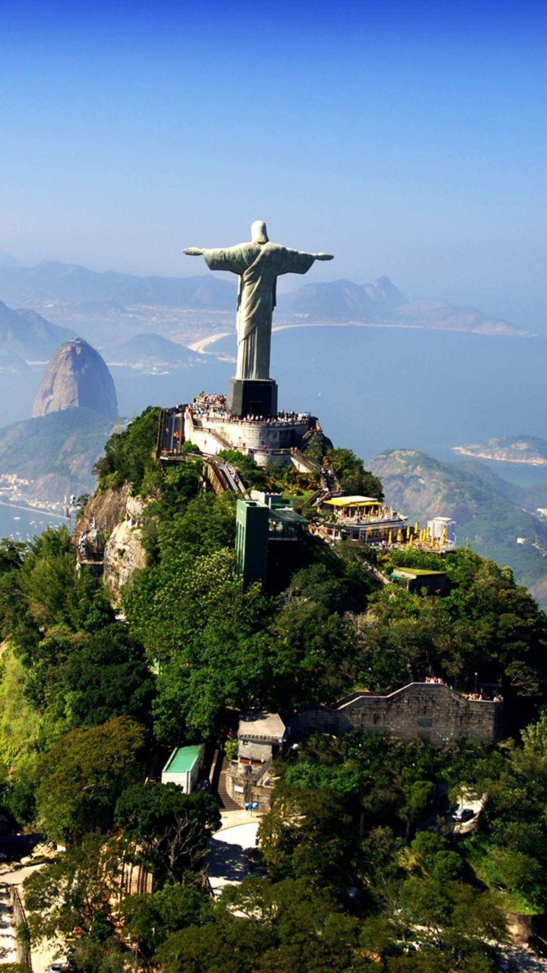 Aerial view of Statue of Christ the Redeemer (Cristo