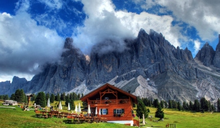 Wooden House In Alps Background for Android, iPhone and iPad