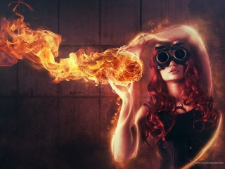 Fire Girl Background for Android, iPhone and iPad