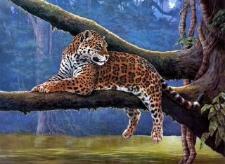 Free Raymond Reibel Jaguar Painting Picture for Android, iPhone and iPad