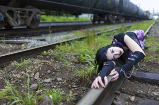 Girl On Railroad Wallpaper for Android, iPhone and iPad