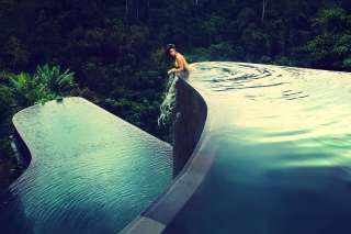 Dreamy Pool In Tropical Paradise Background for Android, iPhone and iPad