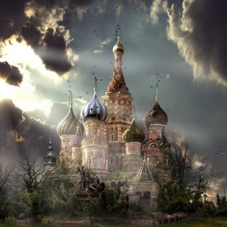 St Basil's Cathedral Moscow Red Square Artistic Clouds - Obrázkek zdarma pro 1024x1024