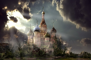 St Basil's Cathedral Moscow Red Square Artistic Clouds - Obrázkek zdarma pro Widescreen Desktop PC 1920x1080 Full HD