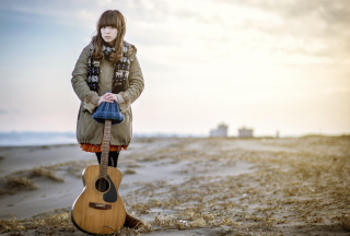 Free Asian Girl With Guitar Outside Picture for Android, iPhone and iPad