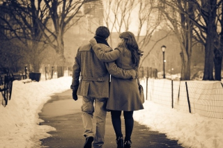 Romantic Walk In The Park Background for Android, iPhone and iPad
