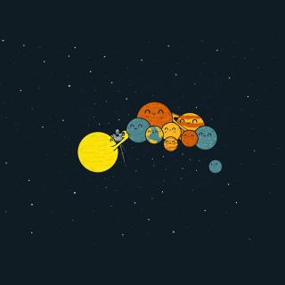Sun And Planets Funny - Obrázkek zdarma pro iPad