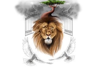 Free Lion Painting Picture for Android, iPhone and iPad