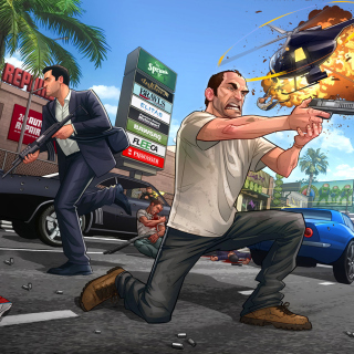 GTA 5 Battle - Obrázkek zdarma pro iPad mini