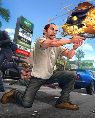 GTA 5 Battle - Obrázkek zdarma pro Nokia Asha 300