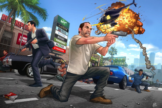 GTA 5 Battle - Obrázkek zdarma pro Samsung Galaxy S 4G