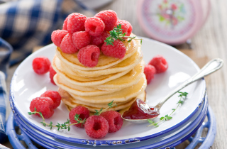 Tasty Raspberry Pancakes Background for Android, iPhone and iPad